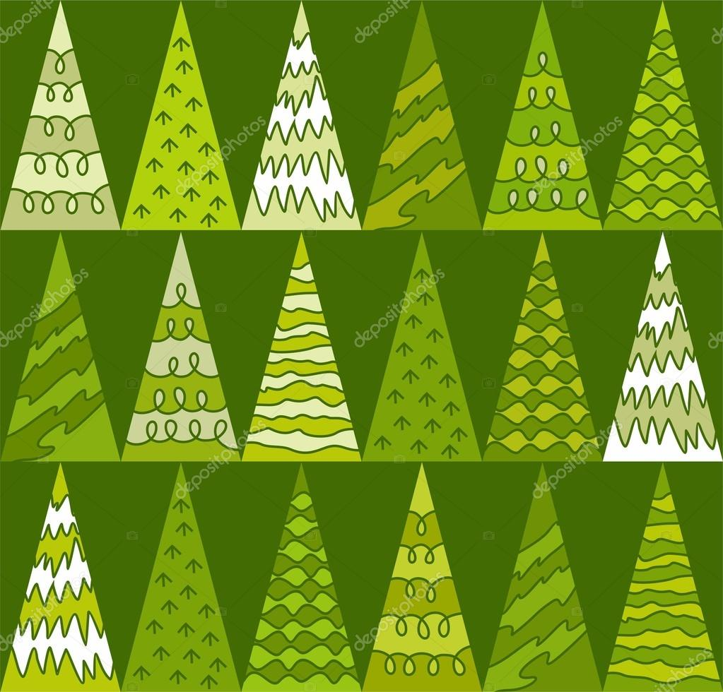 Spruce, trees, green, Christmas, triangles, geometric, green background, seamless.