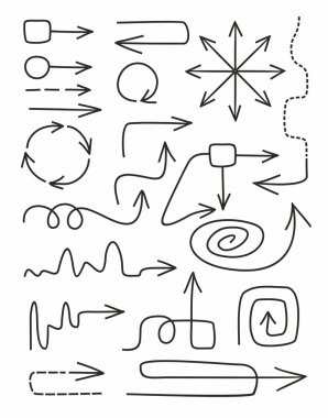 Arrows, thin, curves, intricate, lines, dotted lines, monochrome, white background.