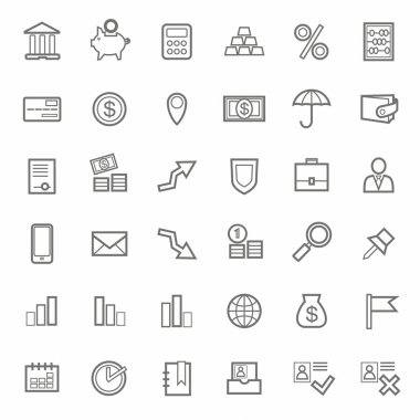 Icons, Bank, Finance, contour, line, monochrome, white background.