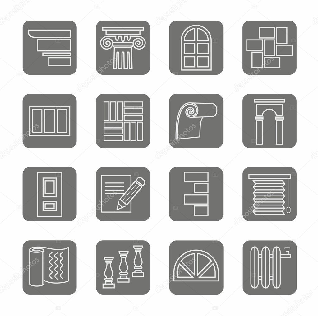 Icons, repair, construction, building, gray, contour, grey background.