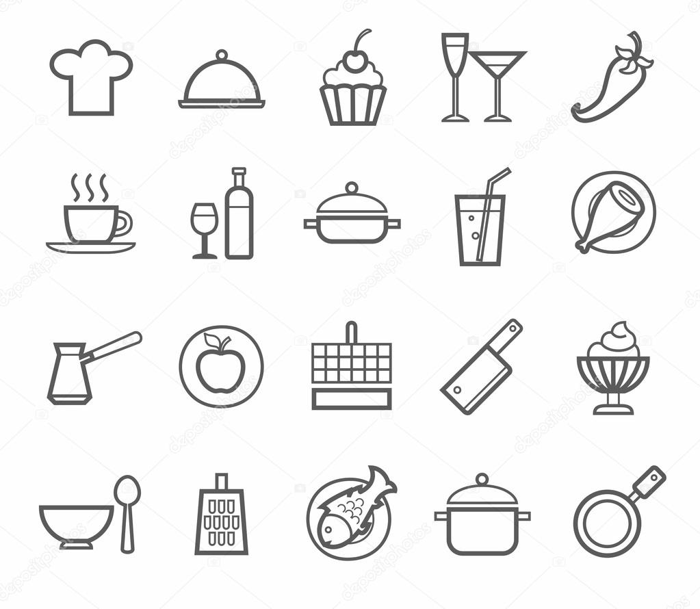 Home Cooking Restaurant Food Drinks Kitchen Utensils Grey Outline On Ben Background For Websites Print And Infographics Vector By Elenavdovina