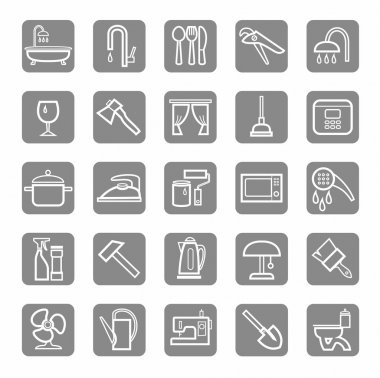 Icons, household goods, appliances, plumbing, white outline, grey background.
