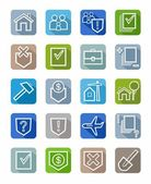 Icons legal services, white outline, civil law, colored background, shadow.