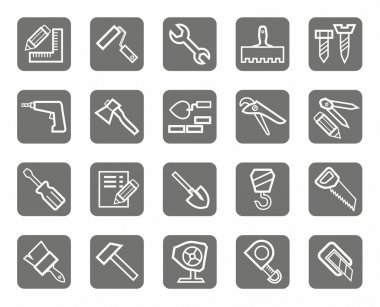 Construction tools, white contour drawing on a grey background. Icons for websites and print. clip art vector
