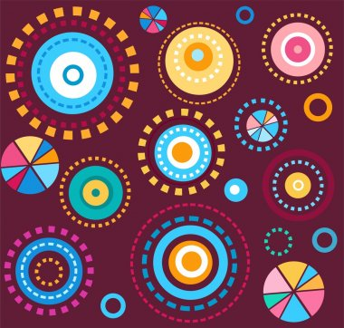 Background, geometric, circles, colorful, fireworks, wine red, seamless, abstract.