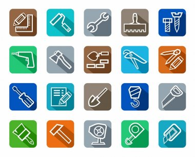 Icons, tools, repairs and construction, colored background, shadow.