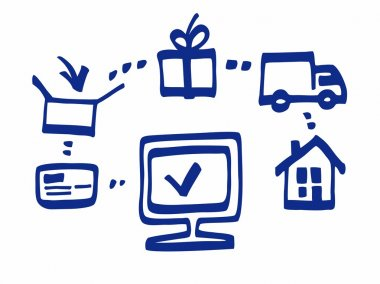 Online purchase, payment, delivery, blue marker, white background, illustration.