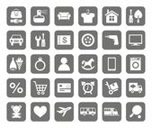 Photo Icons, online store, product categories, monotone, grey background.