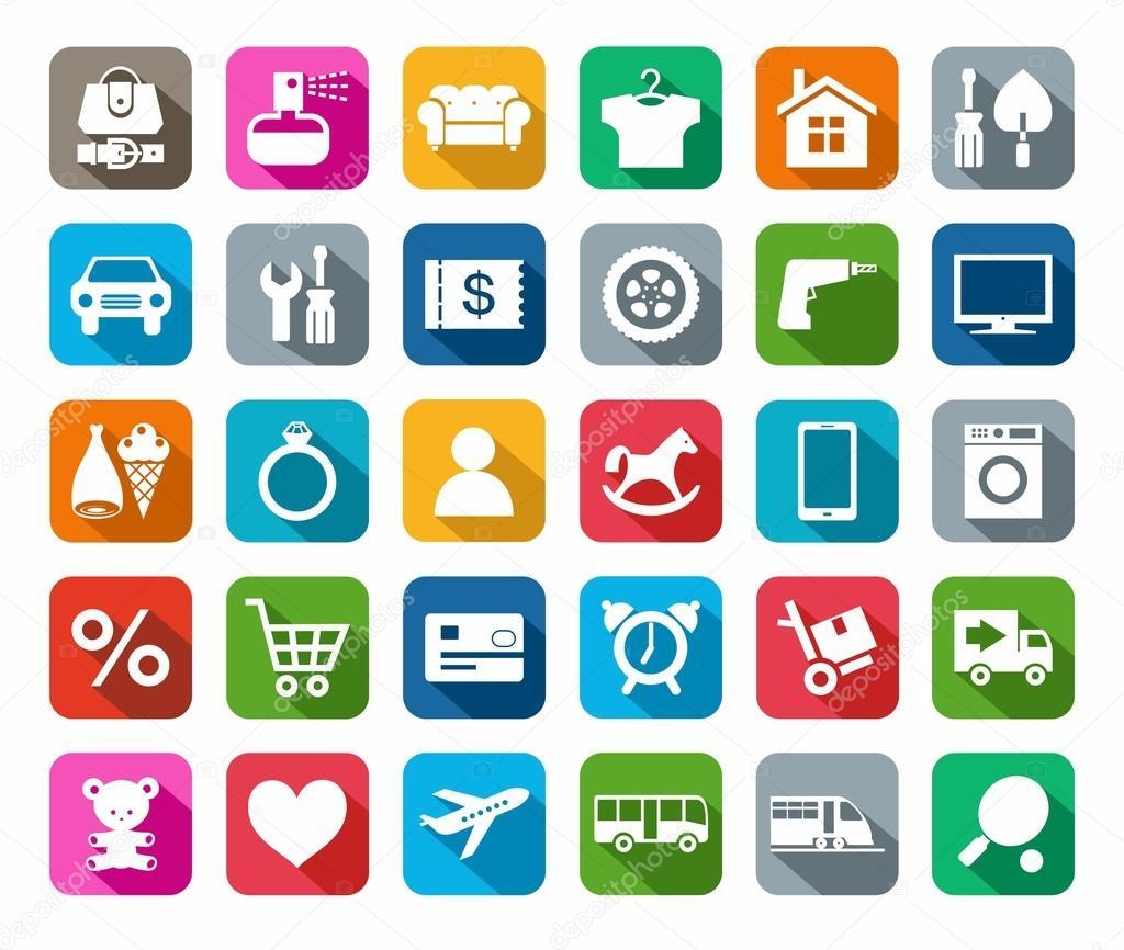 Categorias de ícones coloridos plana de loja on-line — Vetor de elenavdovina