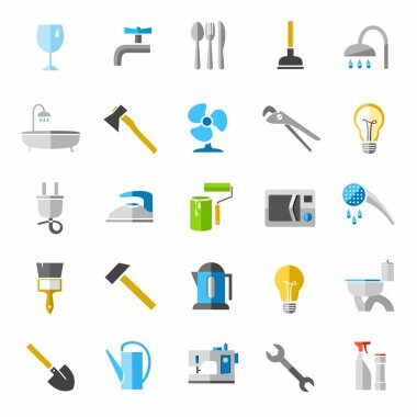 Household goods, color icons, images.