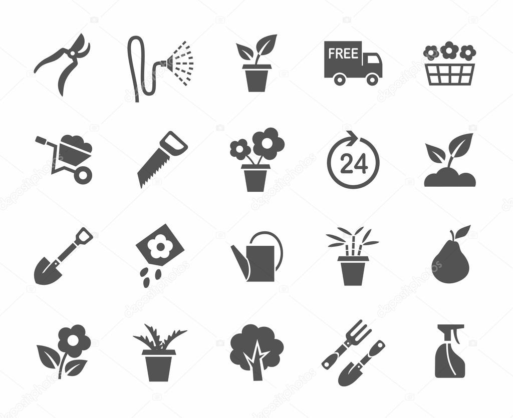 Gardening, flowers, icons, monochrome, white background.