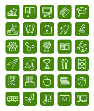Education, icons, linear, white outline, green background.