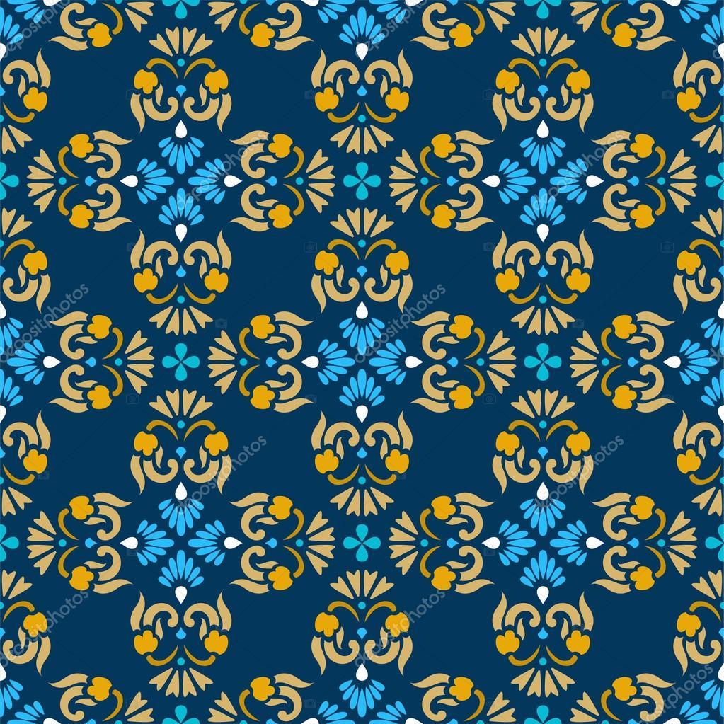 Vector Seamless Pattern With Blue And Gold Flowers On A Background For The Decoration By Elenavdovina