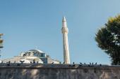 Galambok Mihrimah Szultán mecset külseje közelében, Isztambul, Törökország
