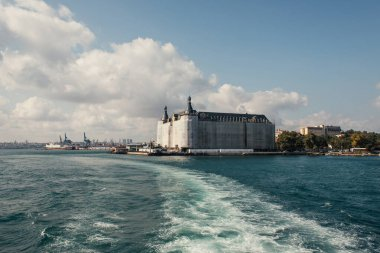 View from sea on Haydarpasa railway station on coast of Istanbul, Turkey stock vector