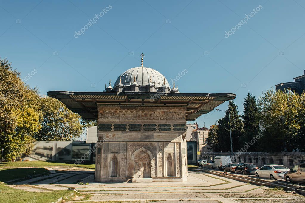 Exterior of Fatih Mosque with blue sky at background in Istanbul, Turkey stock vector