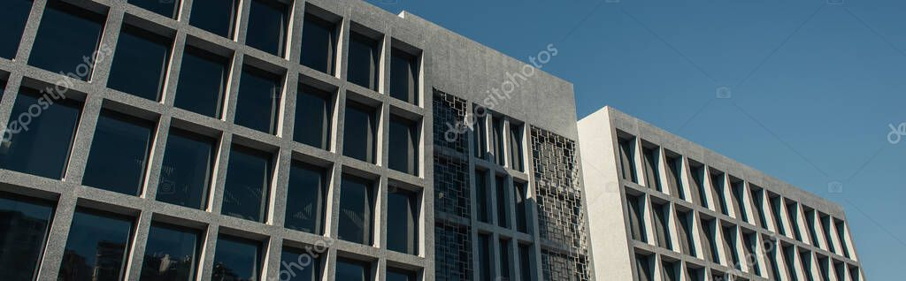 Building with concrete facade and blue sky at background in Istanbul, Turkey, banner stock vector