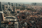 Aerial view of skyscrapers and buildings on streets in Istanbul, Turkey