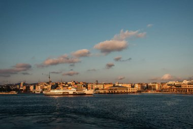 Sea and buildings on coast of Istanbul, Turkey stock vector