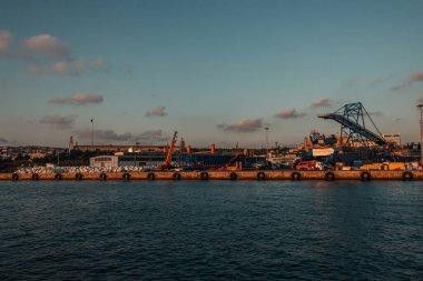 Cargo port with cranes on coast of sea, Istanbul, Turkey stock vector