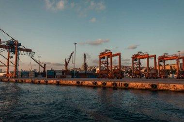 Industrial cranes in sea port of Istanbul, Turkey stock vector