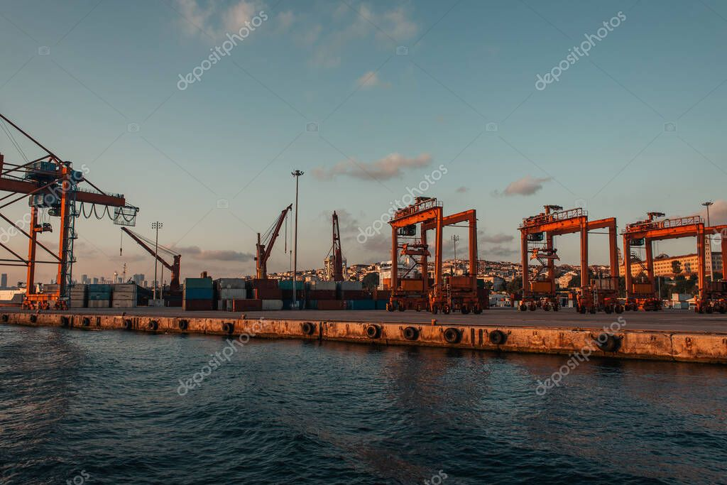 Industrial cranes in sea port of Istanbul, Turkey stock vector