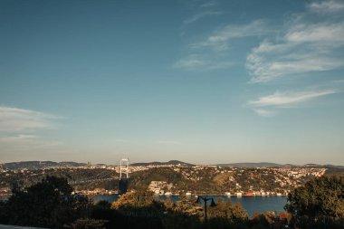 Bridge over Bosphorus strait, and picturesque cityscape stock vector