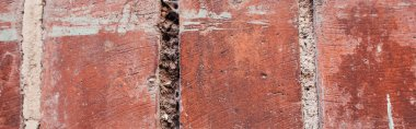 Background with old, natural terracotta bricks, banner stock vector