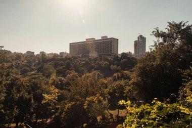 Contemporary multistorey buildings on green hill under sunny sky, Istanbul, Turkey stock vector