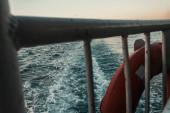 Nahaufnahme von Zaun und Rettungsring auf im Meer schwimmendem Schiff