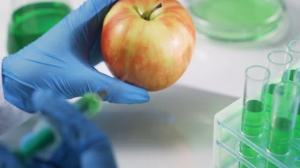 Vědec pracující na ekologickém ovoci a zelenině