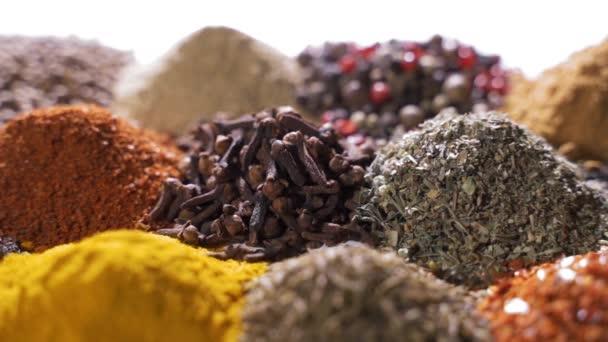 Různé koření a aromatické byliny rozložené na bílém pozadí.