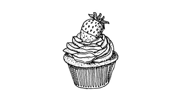 Hand Drawn cake with strawberries doodle. Sketch style icon. Stop motion animation.