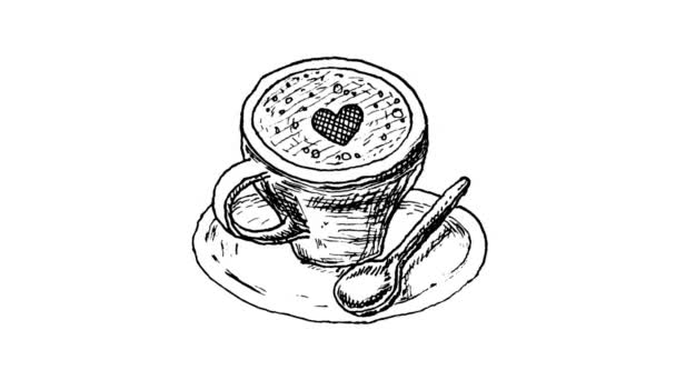 hand-drawn animated cup of coffee on white background.
