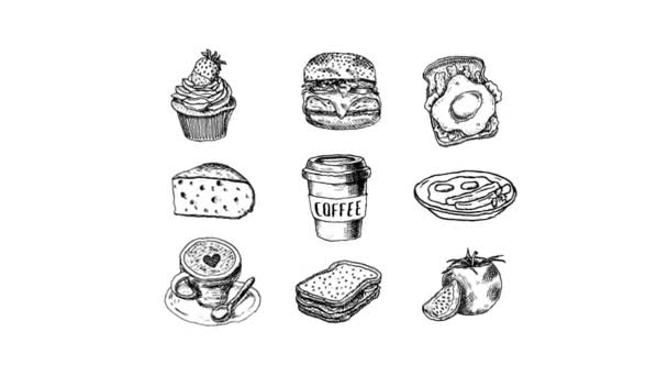 hand-drawn animated food and beverage set, Doodle Cup and Cup with coffee, cake, cheese, Burger, dish, toast with scrambled eggs, sandwich, tomato on white background.