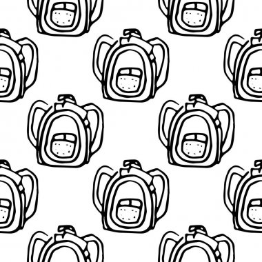 Tourist backpack engraving vector illustration. Seamless pattern. icon