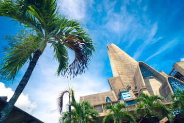 Palm tree in front of basilica La Altagracia Church in Higuey, Dominican Republic