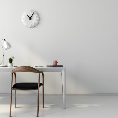 White workplace with a wooden chair