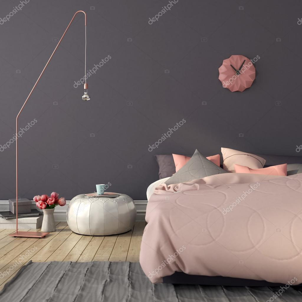 Sypialnia W Kolorze R 243 żowym I Szary Zdjęcie Stockowe