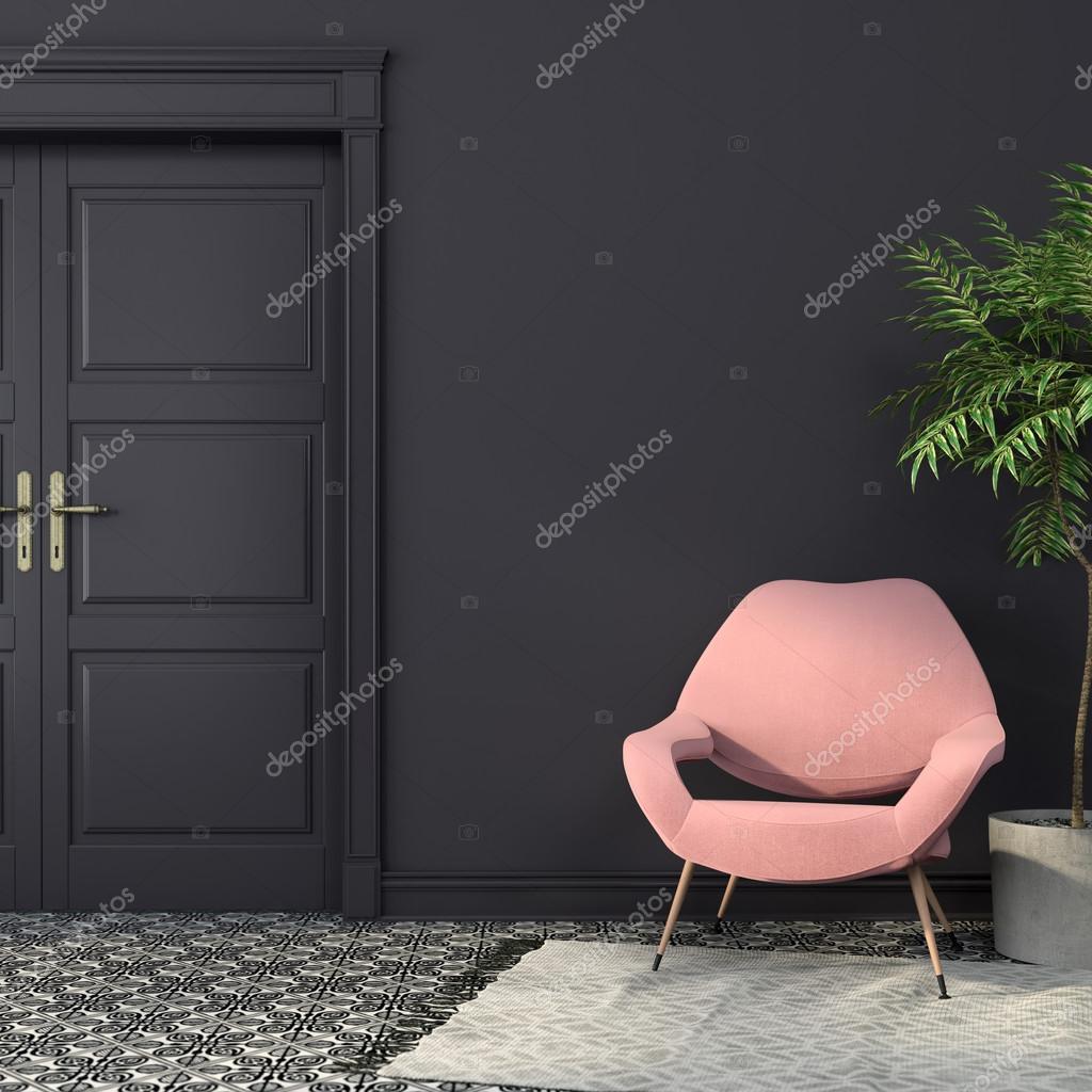 Roze fauteuil in een zwart interieur — Stockfoto © JZhuk #101472696