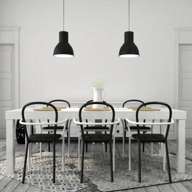 white dining table with black chairs