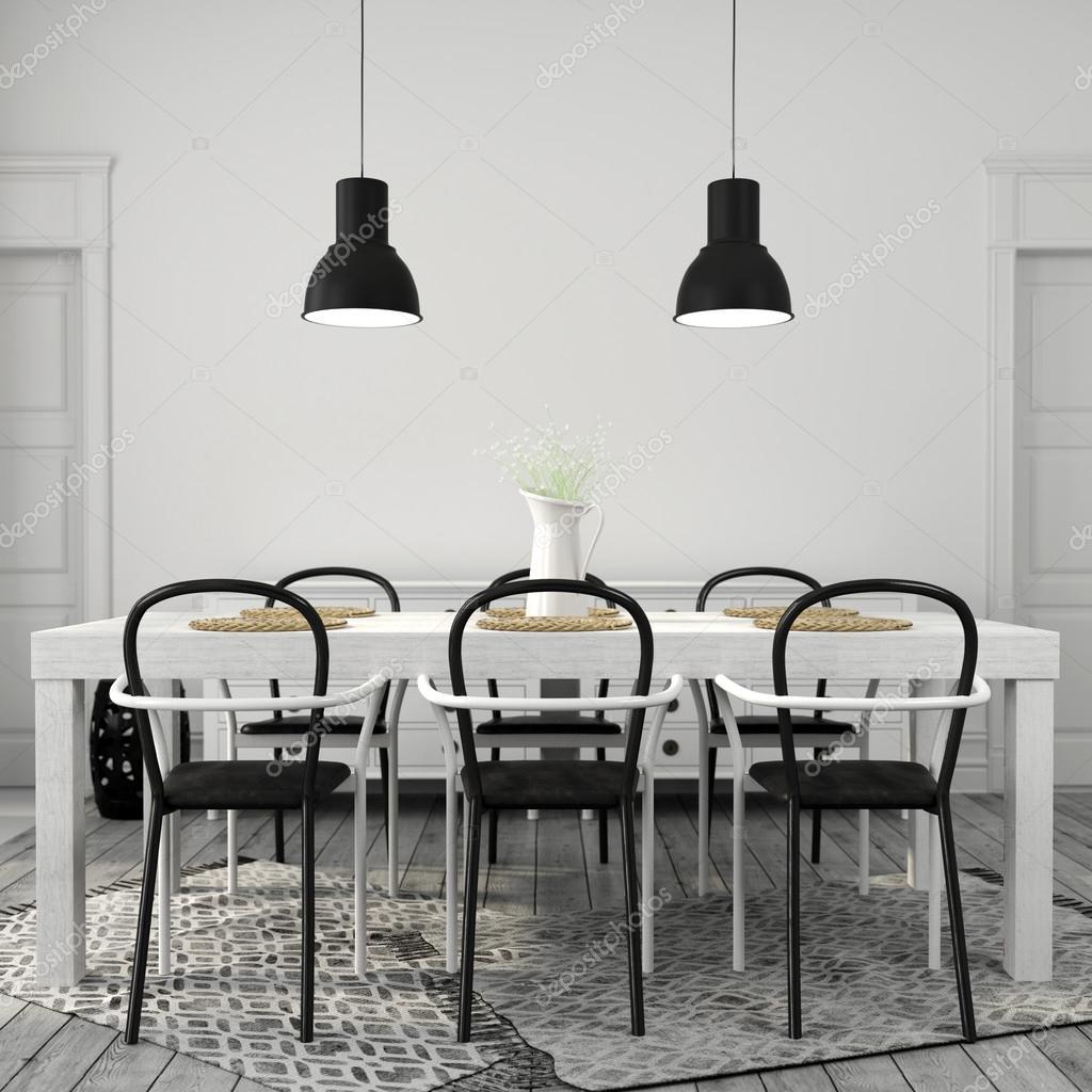 tavolo da pranzo bianco con sedie nere — Foto Stock © JZhuk #104072346