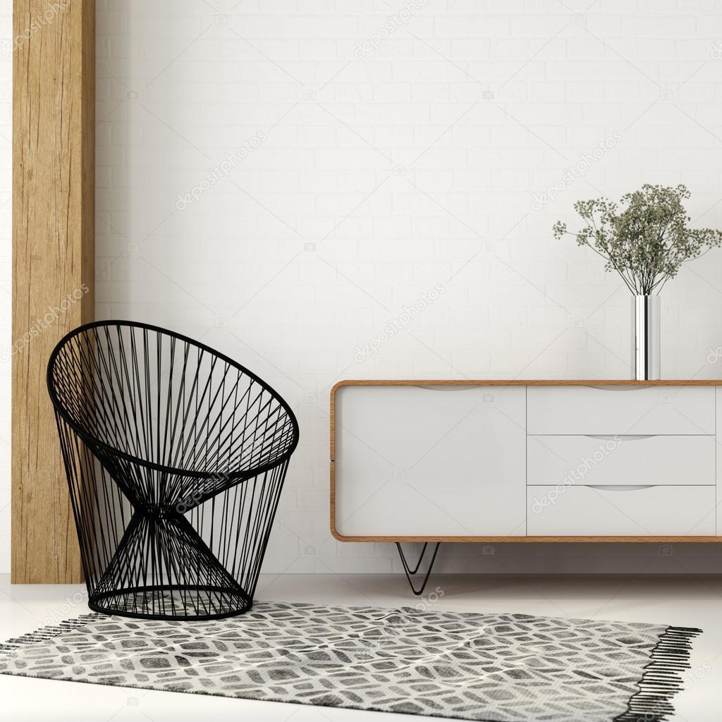 Sessel von schwarzen Faden in weißem Interieur — Stockfoto © JZhuk ...