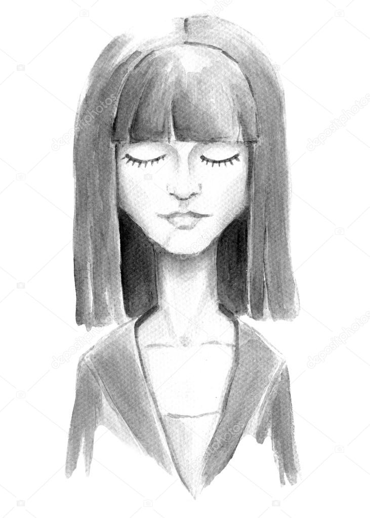 Watercolor Girl With Closed Eyes Stock Photo Jzhuk