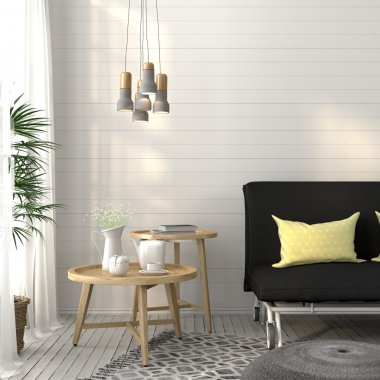 Living room with sofa and concrete chandelier