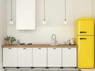 Kitchen with white furniture and a yellow fridge
