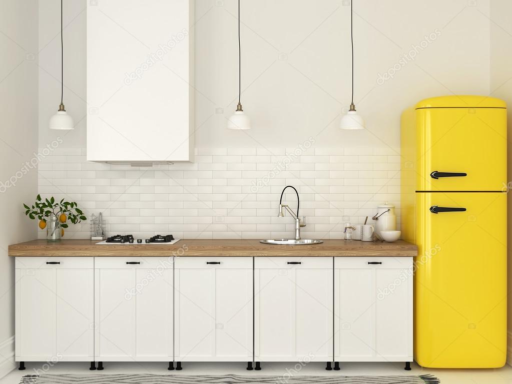 Cocina con muebles blancos y un refrigerador amarillo — Foto de ...