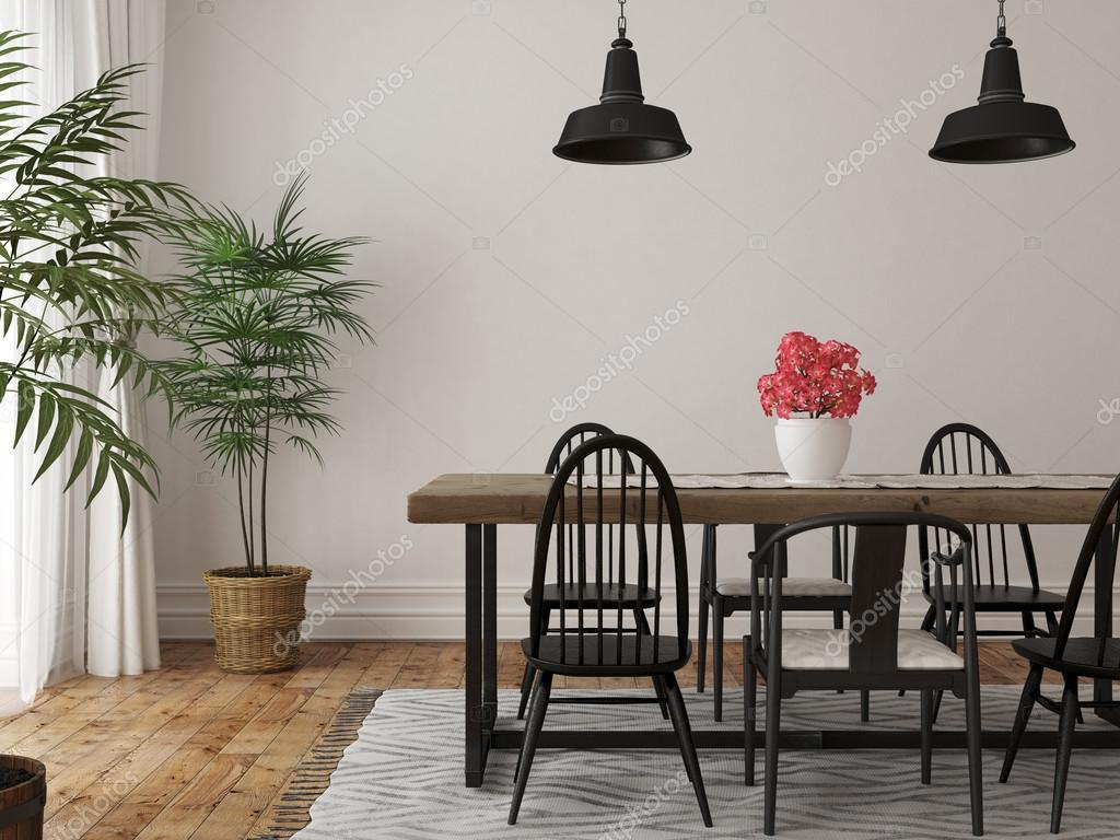 Interieur van de eethoek met een grote houten tafel en zwarte chai