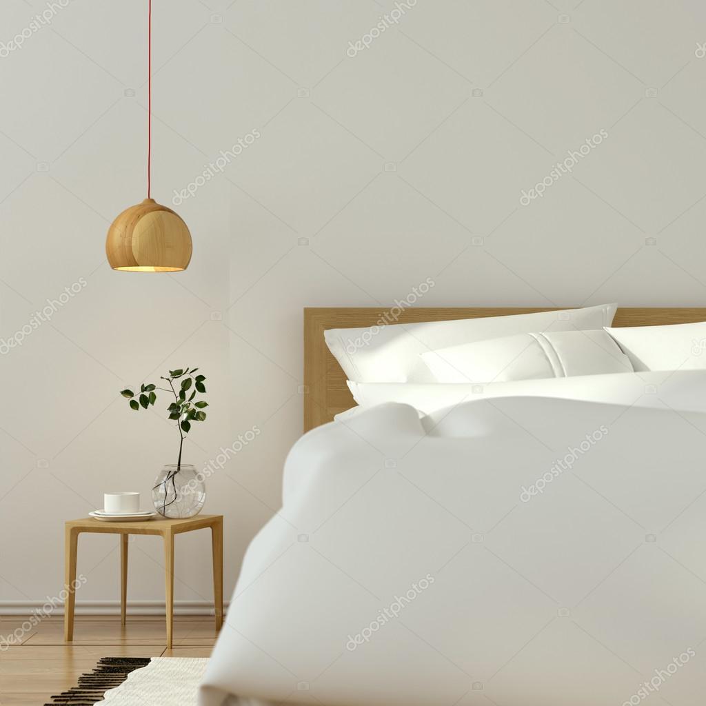 Wit slaapkamer interieur met houten meubelen — Stockfoto © JZhuk ...