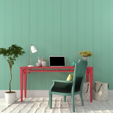 Colorful interior of  home office